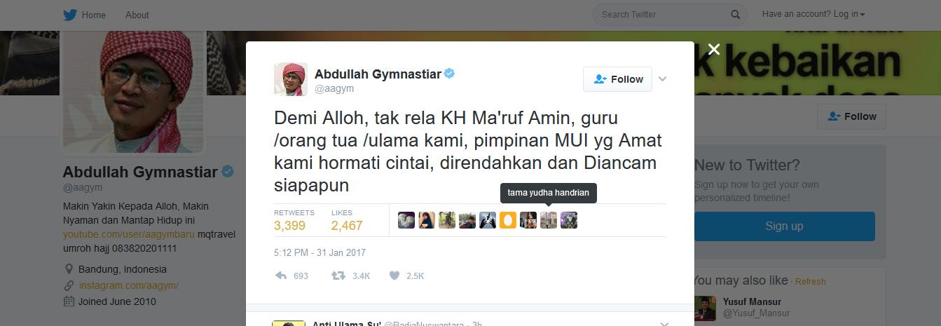 Sikapi Perbuatan Ahok kepada KH Ma'ruf Amin, Aa Gym: Demi