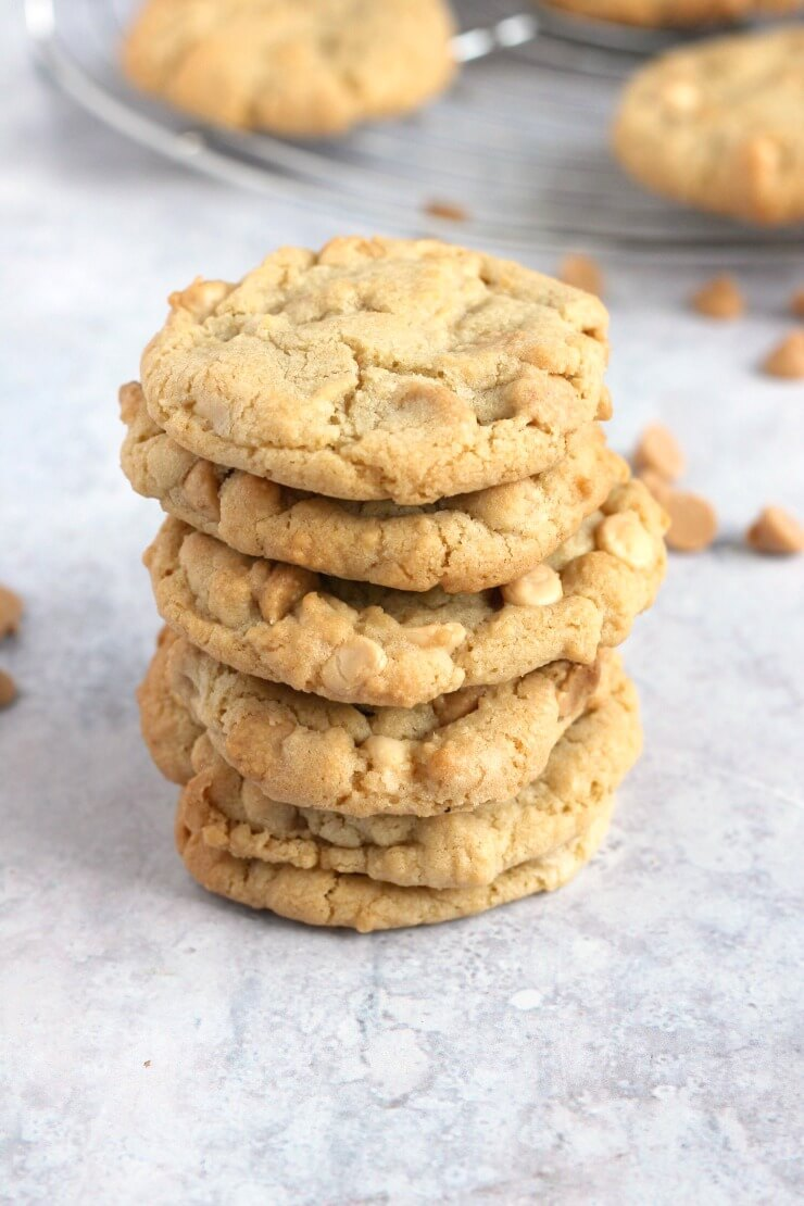A stack of peanut butter chip cookies