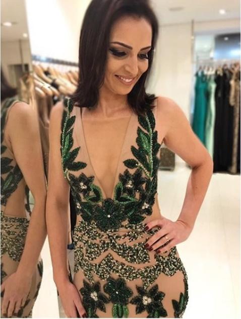 vestido de festa verde ombro a ombro
