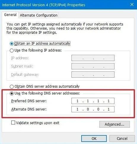 configured DNS Settings