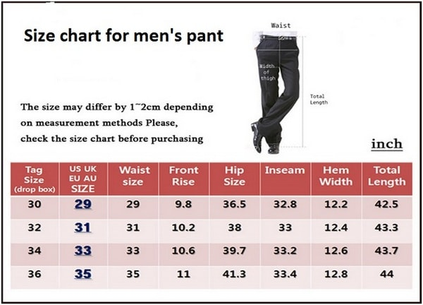 Size chart for men's pant