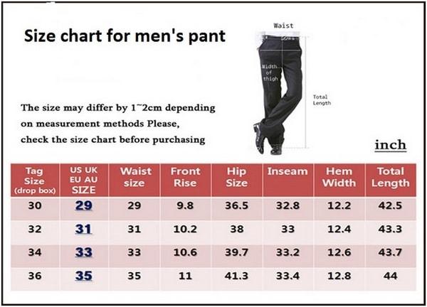 Size Chart Size XS-Waist 25