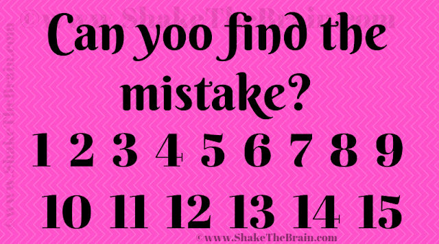 Can yoo find the mistake? 1 2 3 4 5 6 7 8 9 10 11 12 13 14 15