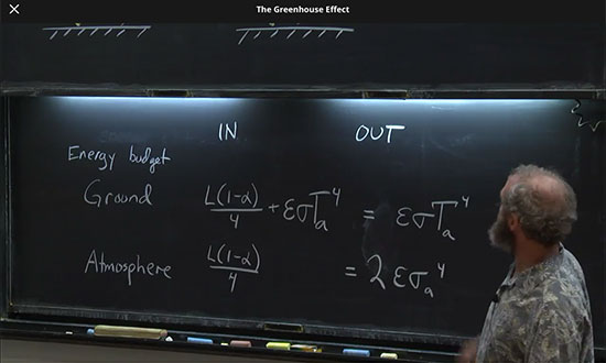 Professor Archer shows blackbody heat balance equations  (Source: www.coursera.org)