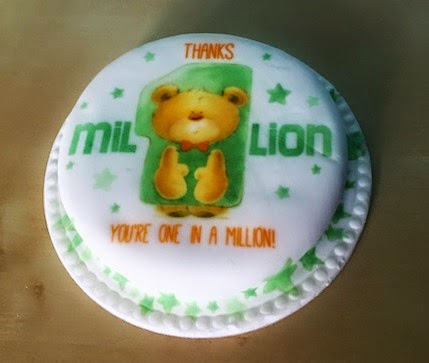 "Morgan's Milieu | Baker Days Letterbox Cake Review: White iced cake with teddy bear on the top. Says ""Thanks, You're one in a million"" on top."