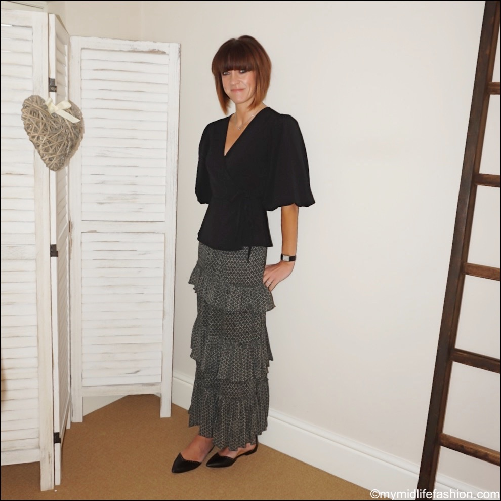 my midlife fashion, Ganni clark puff sleeved wrap top, Isabel Marant Etoile ruffled tiered maxi skirt, Isabel Marant leather studded flats