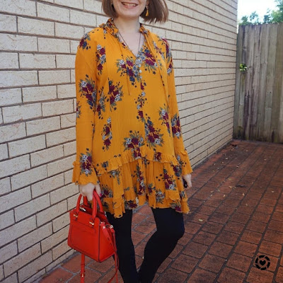 awayfromblue Instagram | Zaful floral print ruffle hem dress in ginger with leggings red bag SAHM mum style