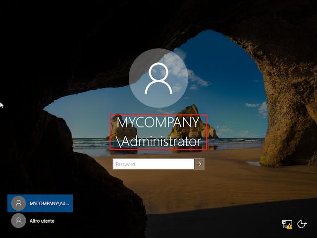 Windows Server 2019, Logon come amministratore di dominio