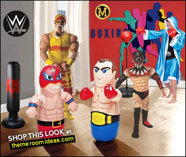 Masked Wrestler and Boxer - MMA Fighter Wrestling Kick Boxing Tackle Buddy Punching Bop Bag Wrestling  Boxing Playroom wrestling costumes boxing costumes bixing wall decal wrestling toys