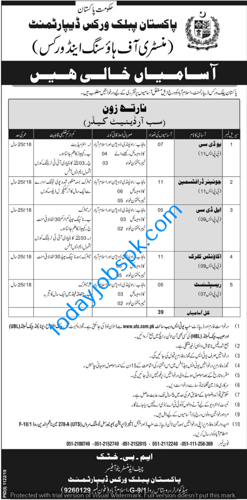 Ministry of Housing and Works Jobs 2019
