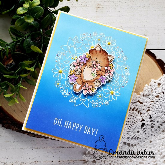 Oh Happy Day Card by Amanda Wilcox | Newton's Flower Garden Stamp Set, and Floral Roundabout Stamp Set by Newton's Nook Designs #newtonsnook #handmade