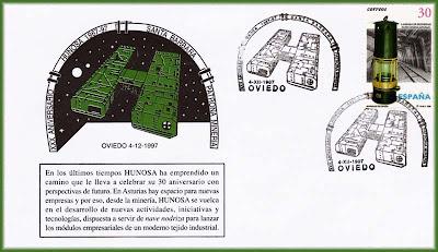 Sobre con matasellos del 30 aniversario de Hunosa, Grucomi, Oviedo 1997