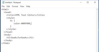 penulisan kode html menggunakan teks editor notepad