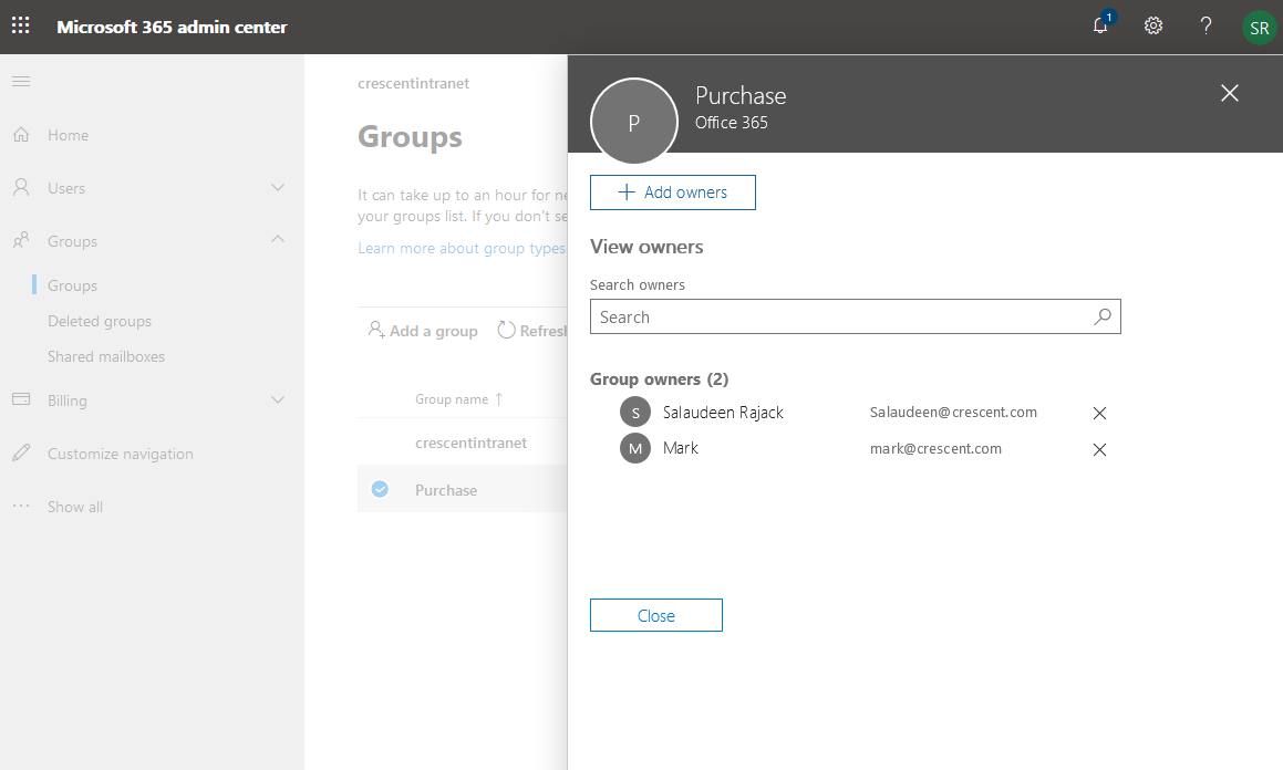 get office 365 group owners using powershell