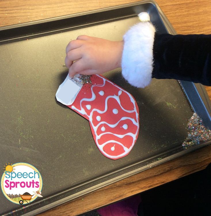 S-blends articulation activities- make a glittered stocking in speech therapy