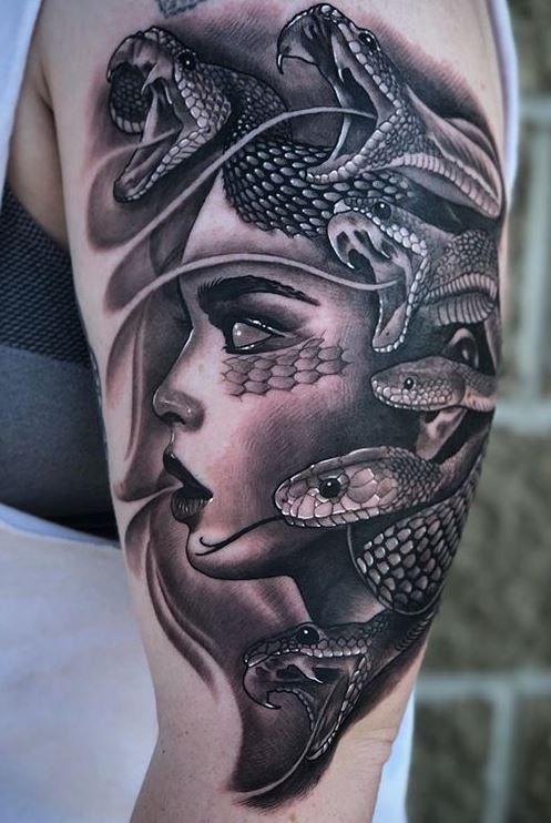 Beautiful-Face-Medusa-Half-Sleeve-Tattoo