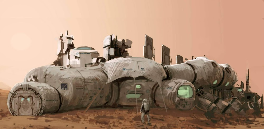 Mars base painting by Romek Delimata