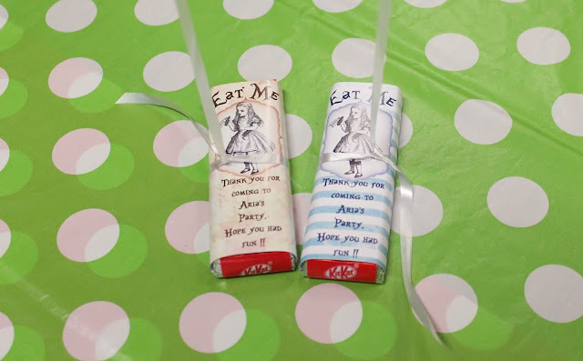 personalised alice in wonderland chocolate wrappers mad hatter's party bag