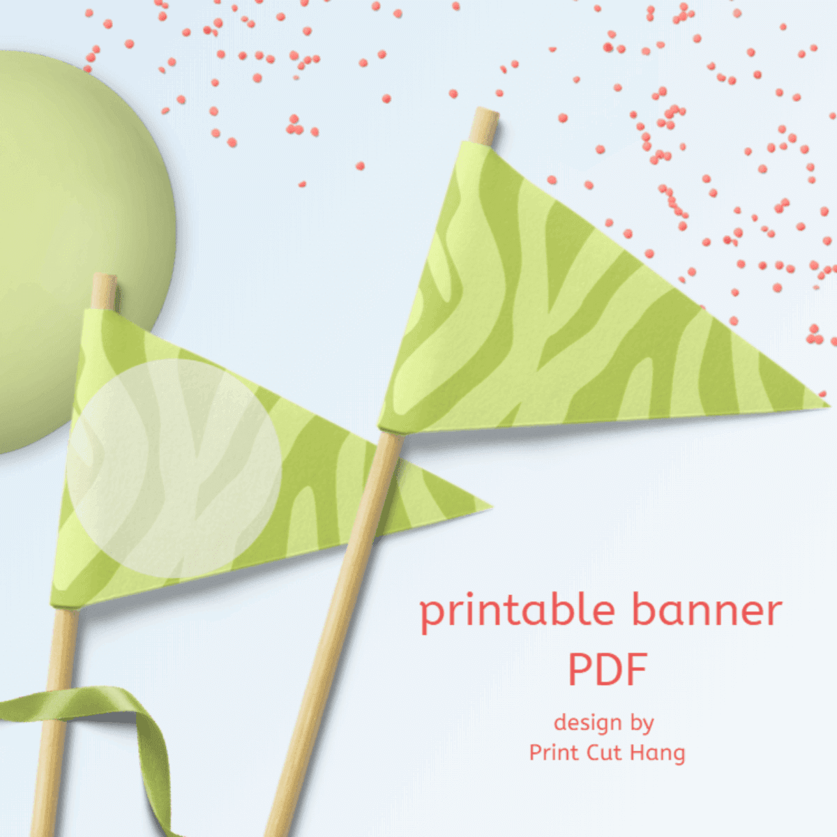 Printable Light Green Zebra Party Banner