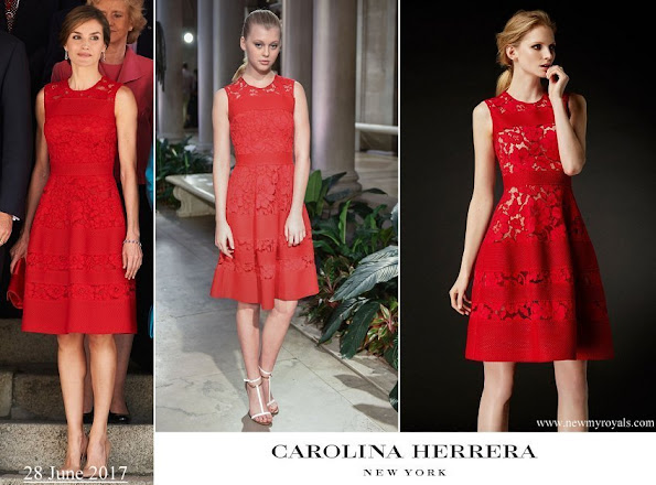 Queen Letizia wore a lace dress from fall 2016 collection of Carolina Herrera