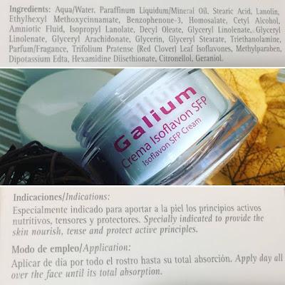 Crema isoflavon, spf, galium cosmetica integral, galium, isoflavonas, antiarrugas, menopausia,