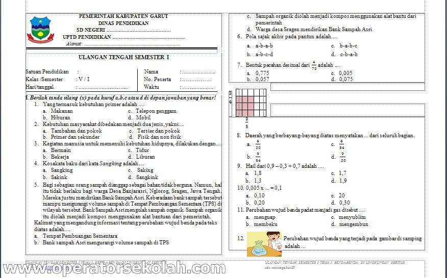 Soal Uas Sd Kelas 6 Semester 1 Soal Ulangan Ips Kelas 6 Uas Ganjil Semester 1 Soal Uts Ujian Tengah Semester Sd Kelas V 5 Kurikulum 2013