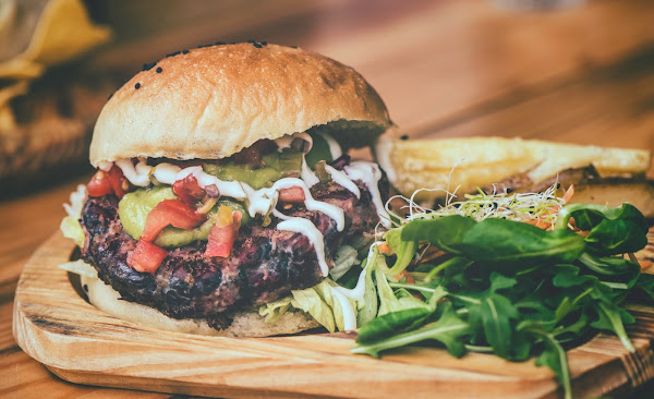 Cilantro Lime Sauce on hamburger