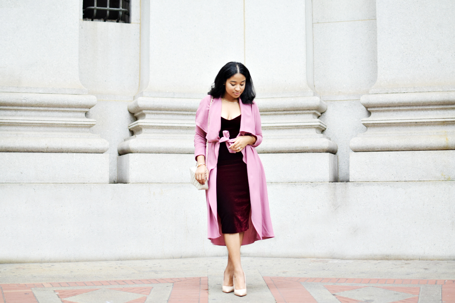 Dusty Rose & Burgundy Fall Outfit
