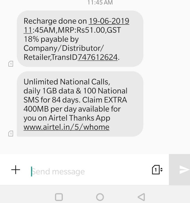 [Proof] Airtel Loot – Get ₹399 Recharge In Just ₹51 Only