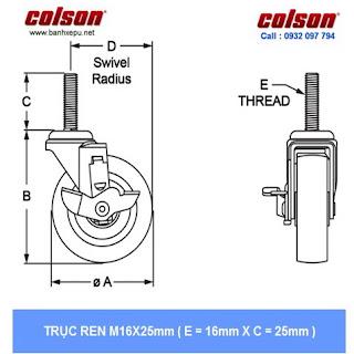 kích thước ty ren bánh xe đôi giường bệnh nhân Colson phi 125 trục ren | CPT-5854-85