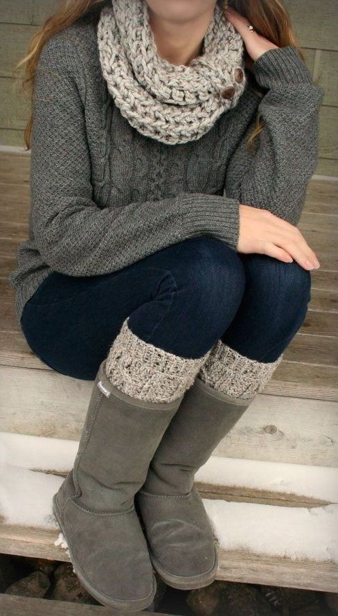 cute outfit_scarf + sweater + jeans + high boots + knit socks
