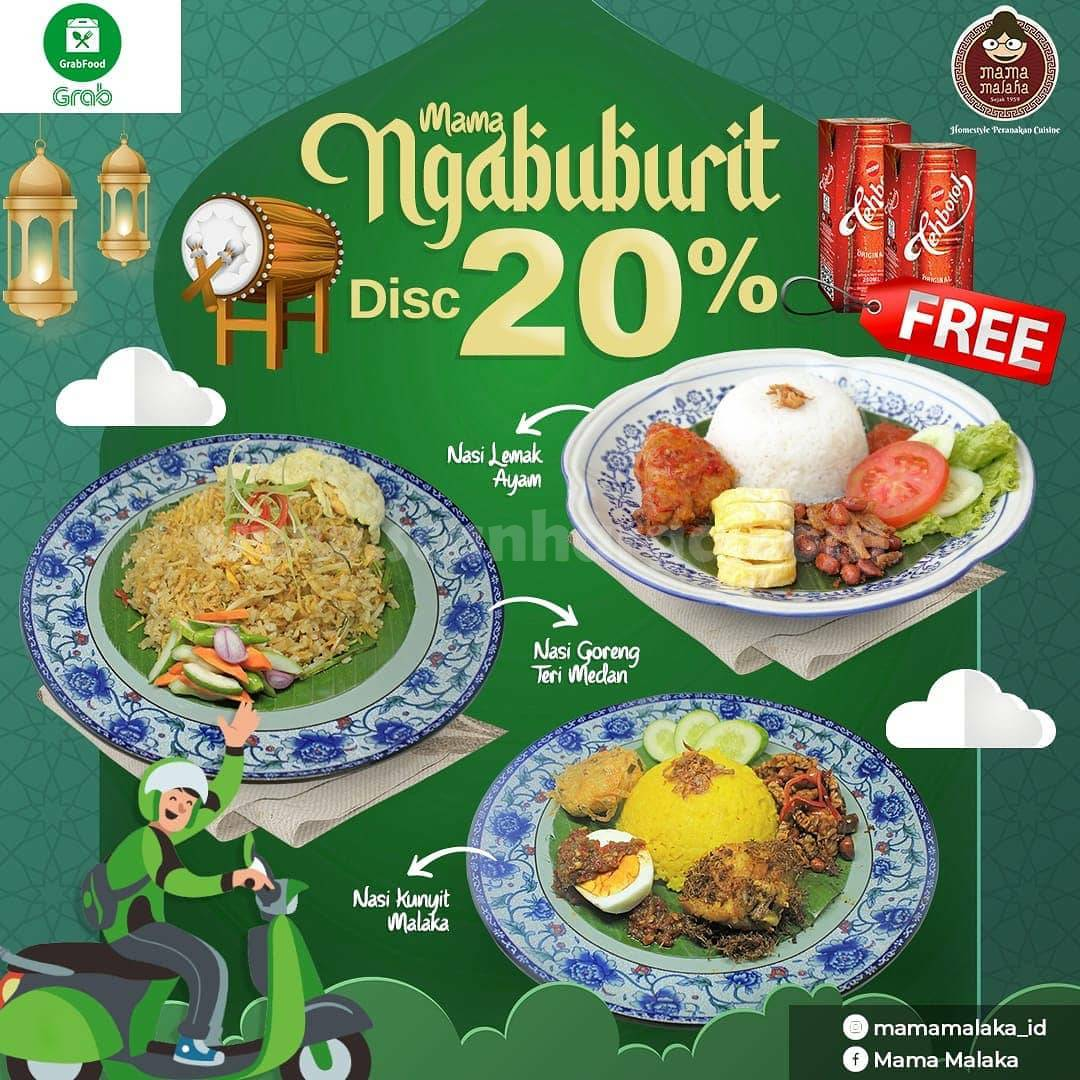 MAMA MALAKA Promo Ngabuburit Diskon 20% + Gratis Teh Kotak Sosro via GRABFOOD