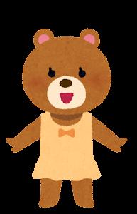 水着の動物のキャラクター(クマの女の子)