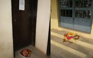 Sacrifice Placed In Front Of LAUTECH Professor's Office (Photos)