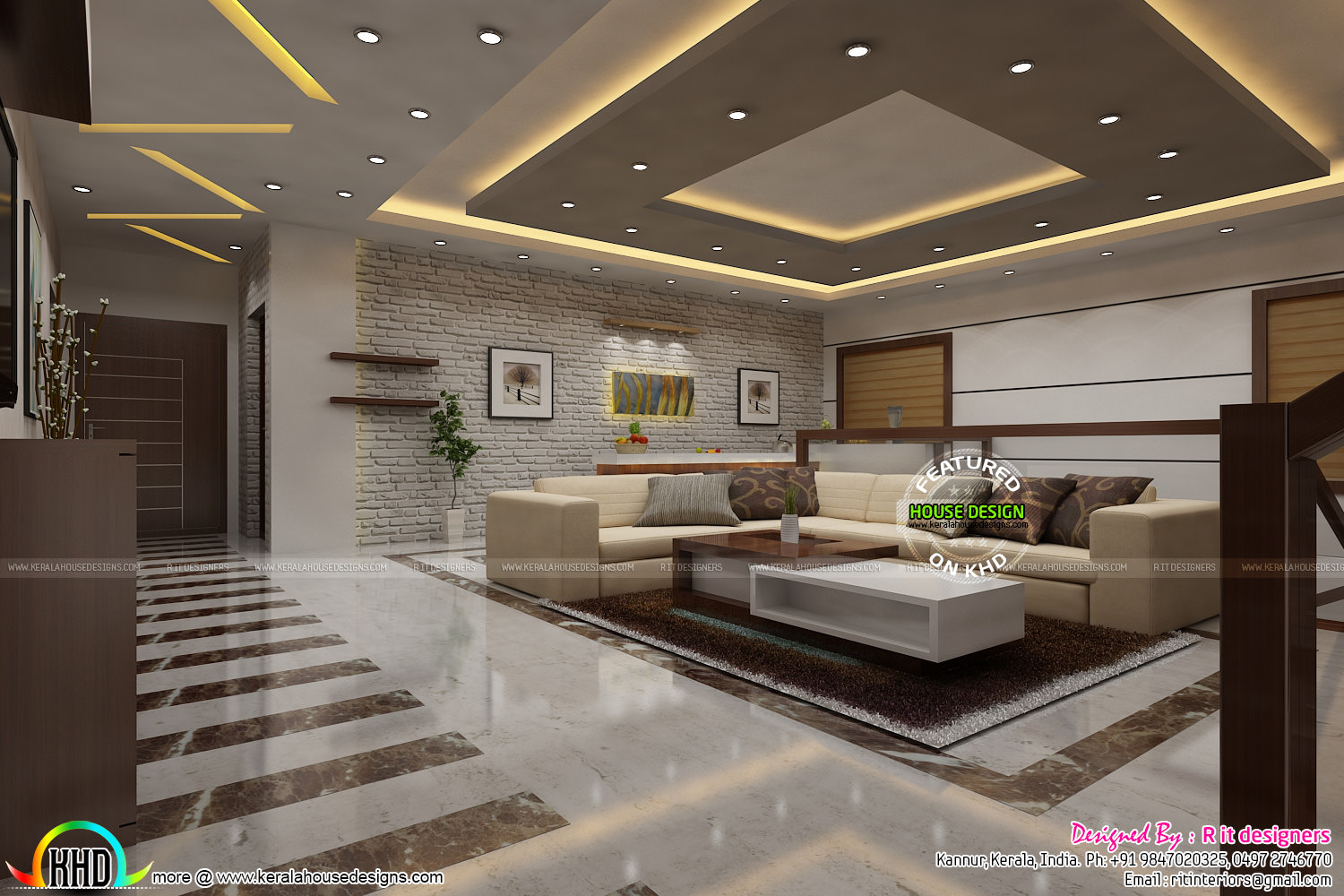Most modern kerala living room interior kerala home for Home plans with interior photos