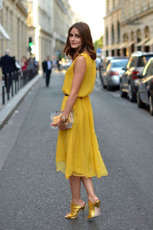 yellow dress and gold shoes
