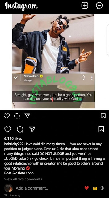 Even your Bible that condemned many things also said do not judge – Bobrisky supports Mayorkun