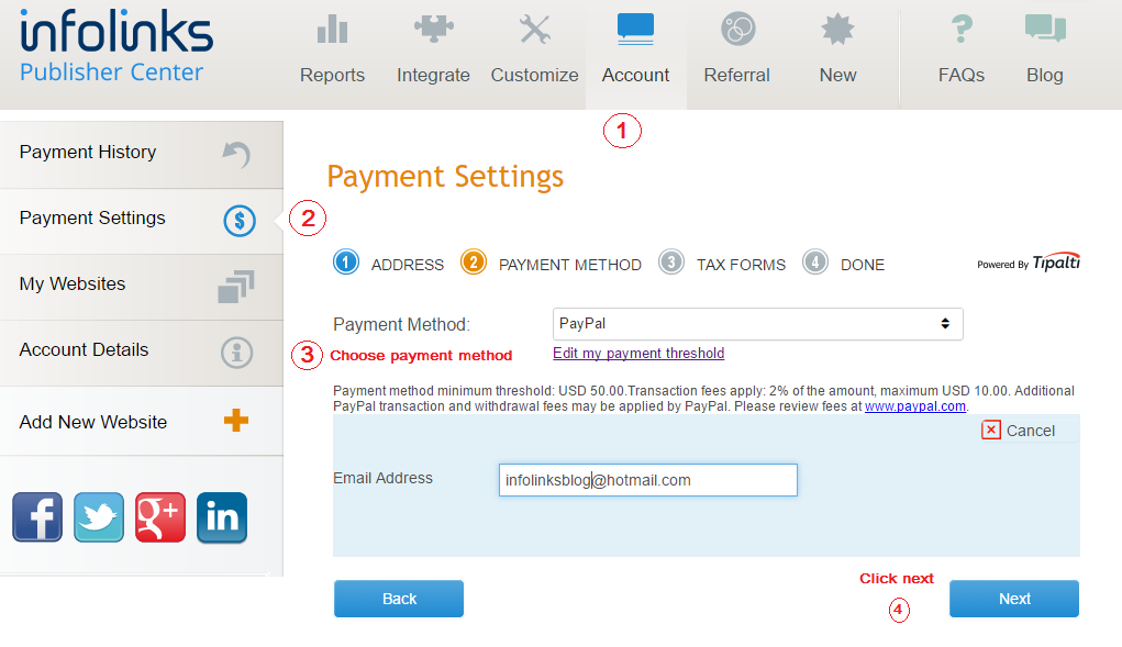 Infolinks Payment Methods And Minimum Payment Threshold
