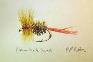 Brown Hackle Peacock, Pat Kellner, P. H. Kellner, Fishing Art, Fly Fishing Art, Texas Freshwater Fly Fishing, TFFF, Fly Fishing Texas, Texas Fly Fishing