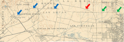 Annotated detail of 1900 USGS map of Los Angeles area
