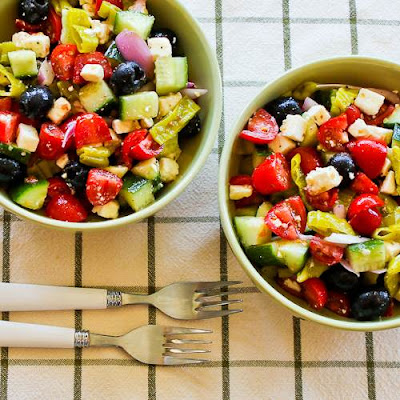 Spicy Chopped Greek-Style Salad with Peperoncini