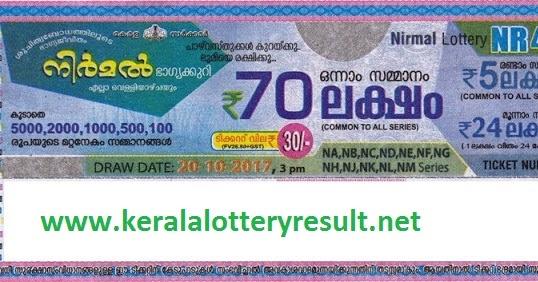 Nirmal Lottery NR 40 Results On 20.10.2017