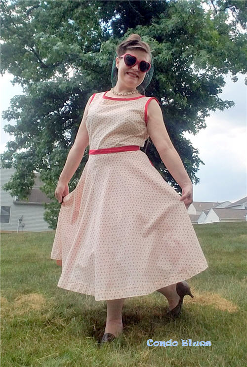 red and pink retro vintage pin up sun dress
