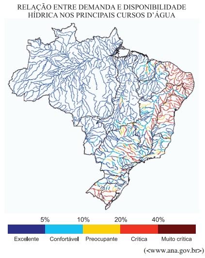 Relação entre demanda e disponibilidade hídrica nos principais cursos d'água