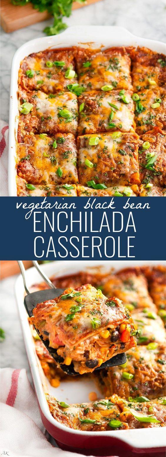 VEGETARIAN BLACK BEAN ENCHILADA CASSEROLE RECIPE