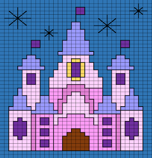 Disney Castle small cross stitch pattern
