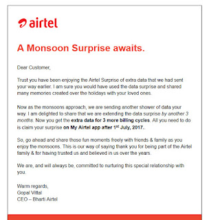 Airtel Monsoon Surprise Offer: 30GB Free Data For 3 Months