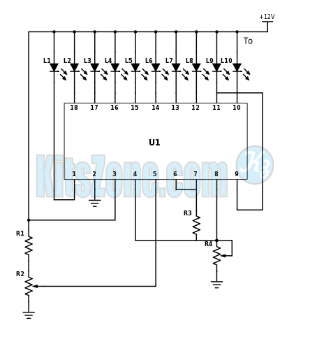 12V BATTERY LEVEL INDICATOR USING LM3914 | BATTERY LEVEL INDICATOR CIRCUIT DIAGRAM