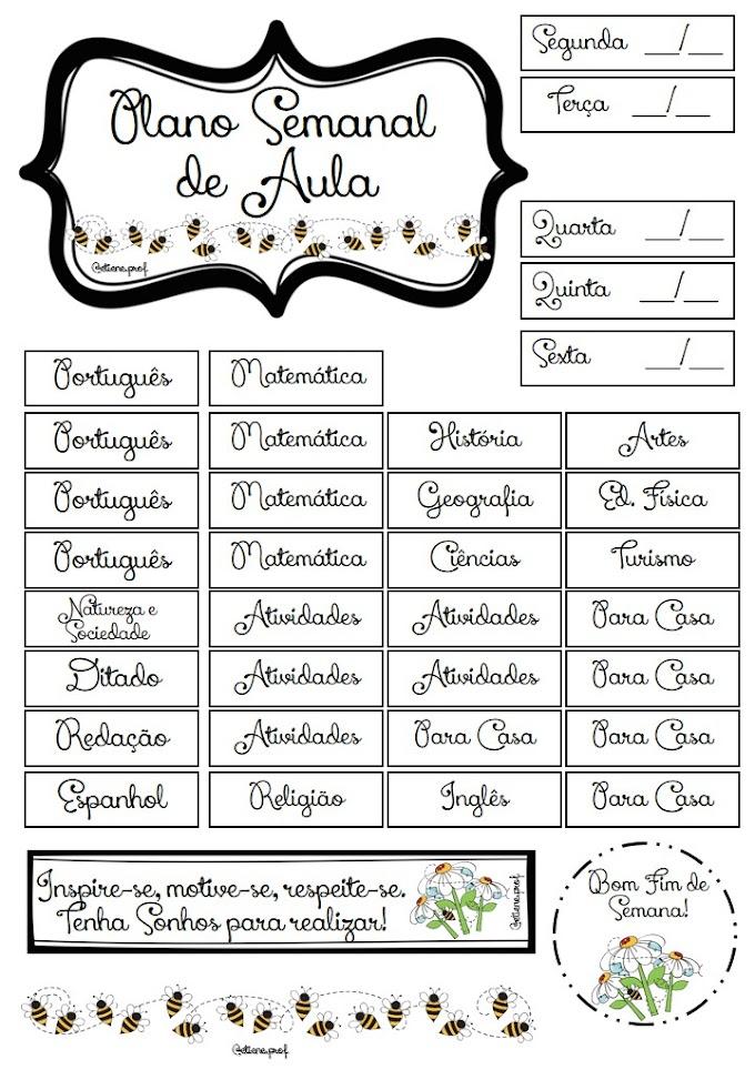 Etiquetas do Plano Semanal Abelhinhas