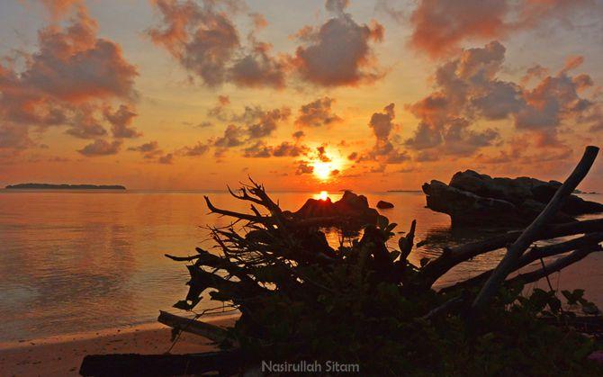 Mentari terbit terlihat dari pesisir pantai Batu Putih, Karimunjawa